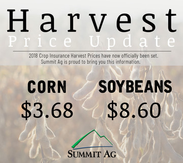 2018 Official Crop Insurance Harvest Prices
