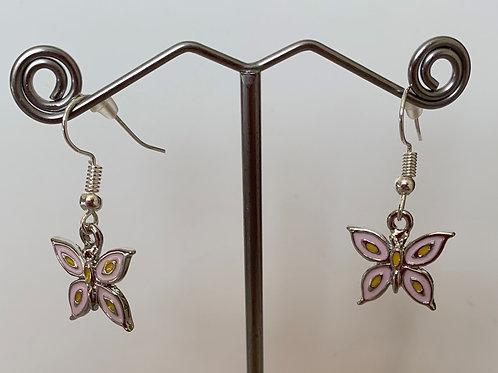 Butterfly Earrings -Pink/Yellow Enamel