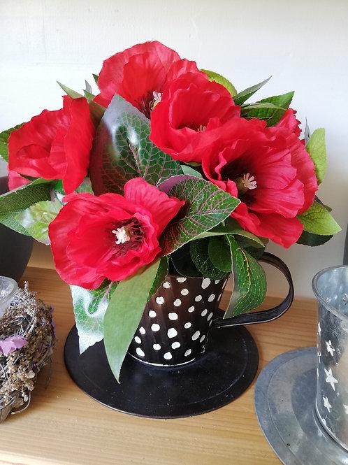 Tin Tea cup, artificial poppies