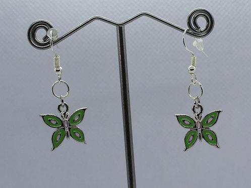 Butterfly Earrings -Green/White Enamel