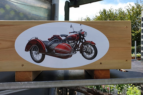 Wooden trough - Motorbike & sidecar