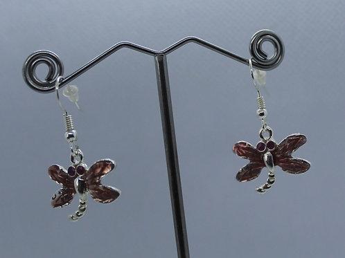 Dragonfly Earrings -Pink Enamel