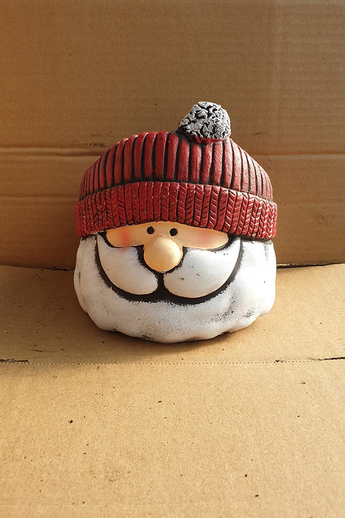 Father Christmas woolly hat cement planter