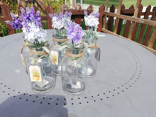 Artificial Lavender glass vases