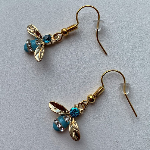 Blue Rhinestone and Enamel Bee earrings