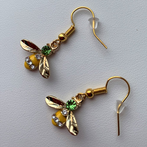 Yellow Rhinestone and Enamel Bee earrings