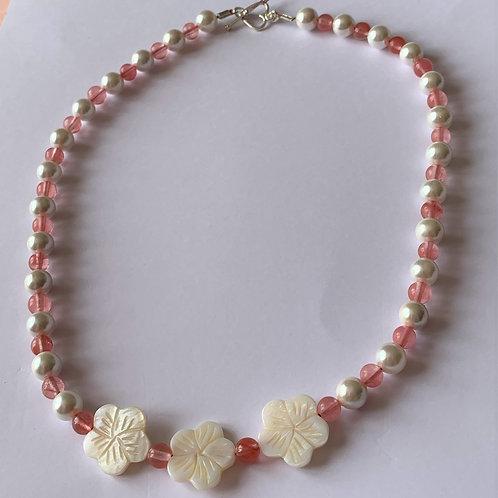 Cherry Quartz & Shell necklace