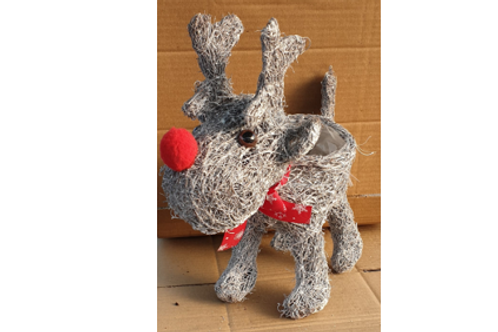 Salim whitewash reindeer planter