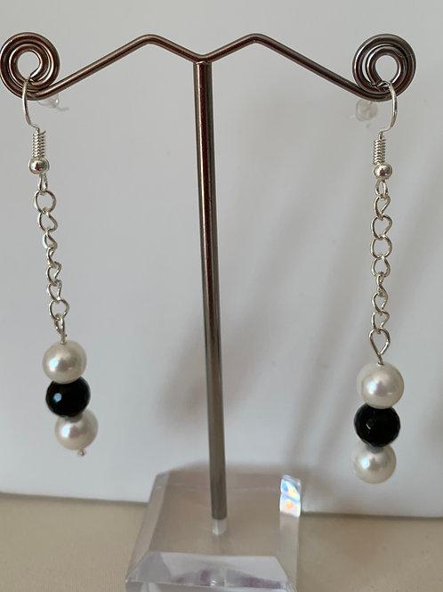 Black Agate & White Shell earrings
