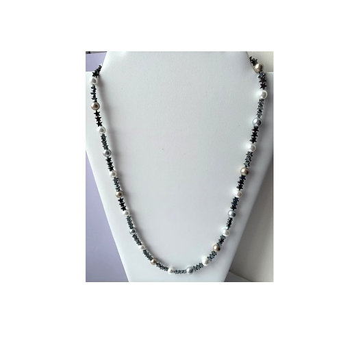 Hematite Stars & Shell Pearl necklace