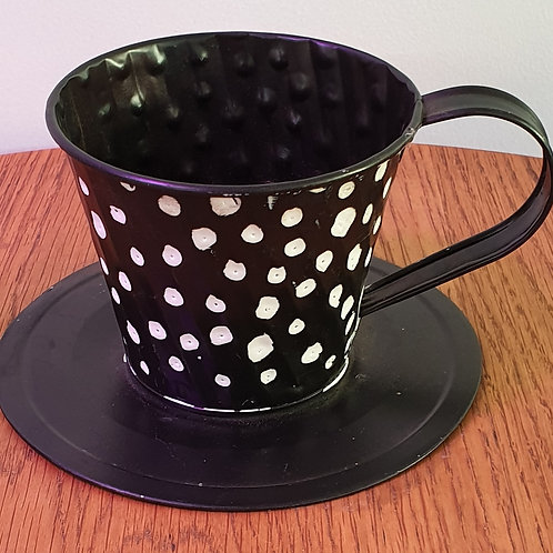 Large metal Tea cup - spots