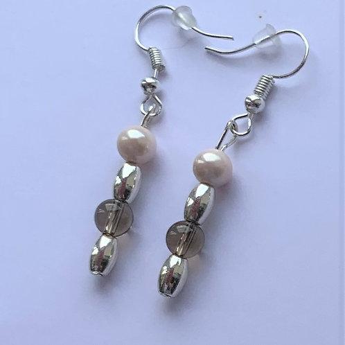 Smoky Quartz  & Pink Shell earrings