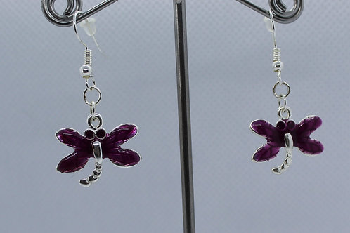 Dragonfly Earrings -Purple Enamel