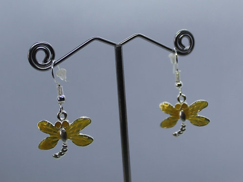 Dragonfly Earrings -Yellow Enamel