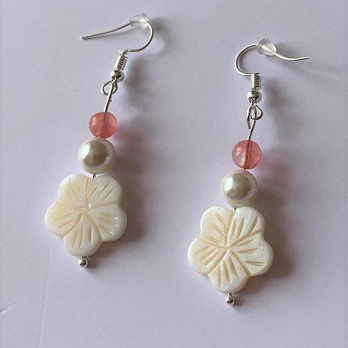 Cherry Quartz & Shell earrings