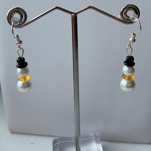 Snowman earrings orange