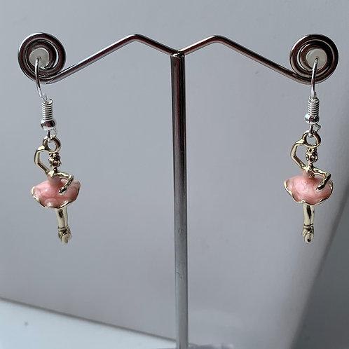 Pink Enamel Ballerina earrings