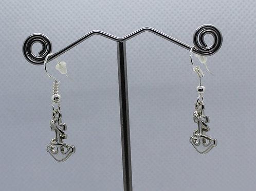 Anchor Earrings - White Enamel