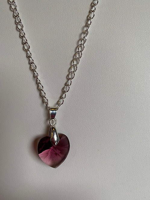 February pendant necklace - Swarovski® - Amethyst