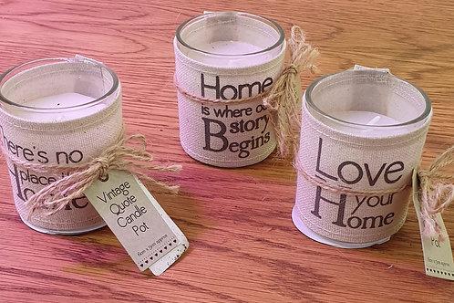 Vintage quote candle pot
