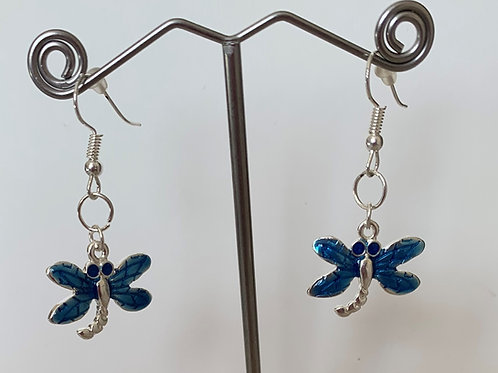 Dragonfly Earrings -Blue Enamel