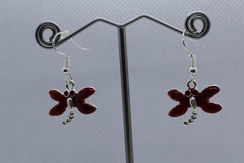 Dragonfly Earrings -Red Enamel