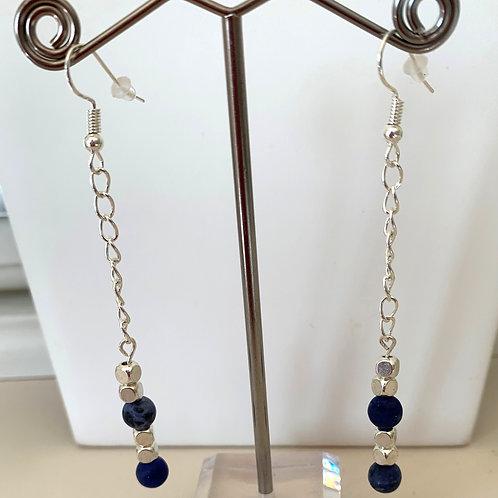 Sodalite Frosted earrings (long)