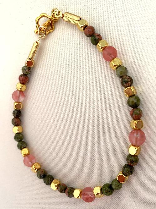 Cherry Quartz &  Unakite bracelet