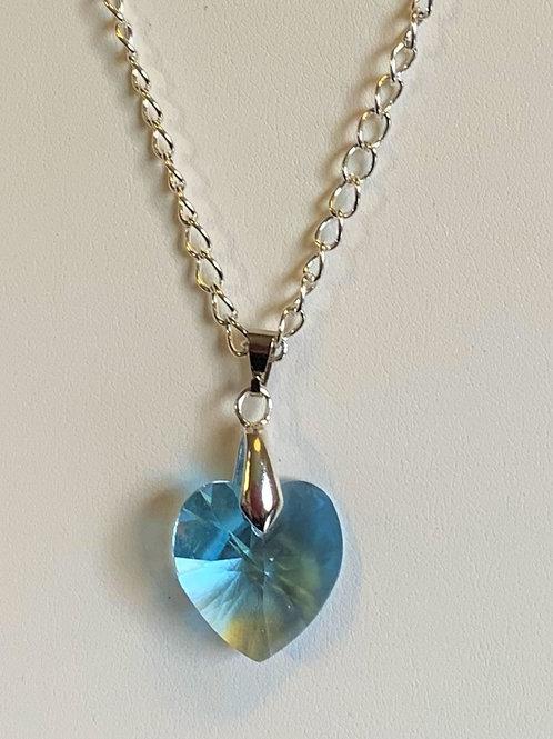 March pendant necklace - Swarovski® - Aquamarine