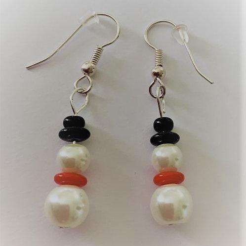 Snowman earrings red