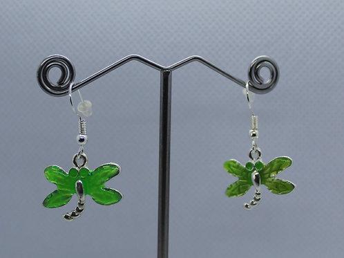 Dragonfly Earrings -Green Enamel