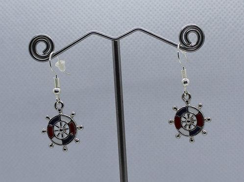 Ships Wheel Earrings - Red/White/Blue Enamel