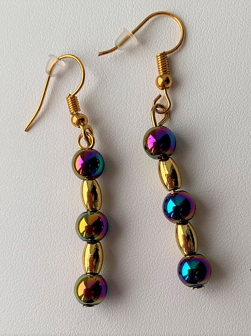 Rainbow Hematite earrings