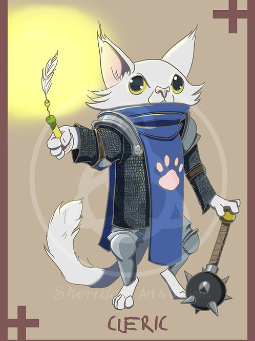 "Cleric Cat Print 5"" x 7"""