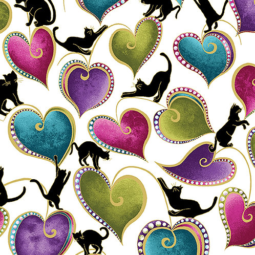 Benartex Cat-i-tude - HEARTS AND CATS WHITE