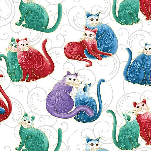 Benartex Cat-i-tude 2 - MINI SCROLL CATS
