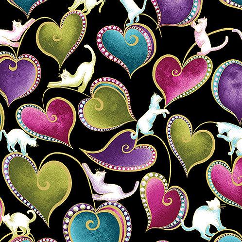 Benartex Cat-i-tude - HEARTS AND CATS BLACK