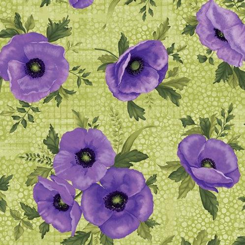 Benartex Midnight Poppies - POPPIES GREEN