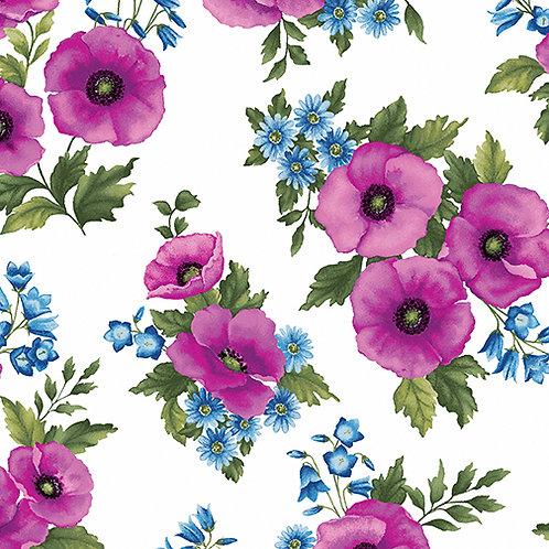 Benartex Midnight Poppies - POPPY TOSS FUCHIA