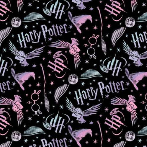 Camelot Wizarding World - HARRY POTTER TOSSED ELEMENTS BLACK FLANNEL