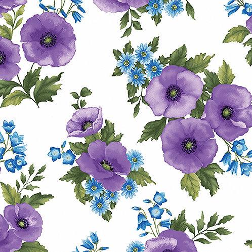 Benartex Midnight Poppies - POPPY TOSS PURPLE