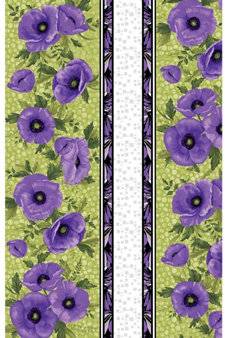 Benartex Midnight Poppies - MIDNIGHT POPPIES GREEN STRIPE