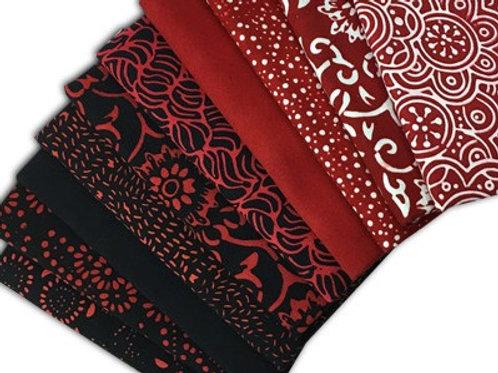 Sew Batik Fat Quarter Bundle - RED/BLACK