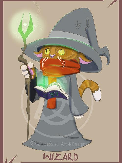 """Wizard Cat Print 5"""" x 7"""""""