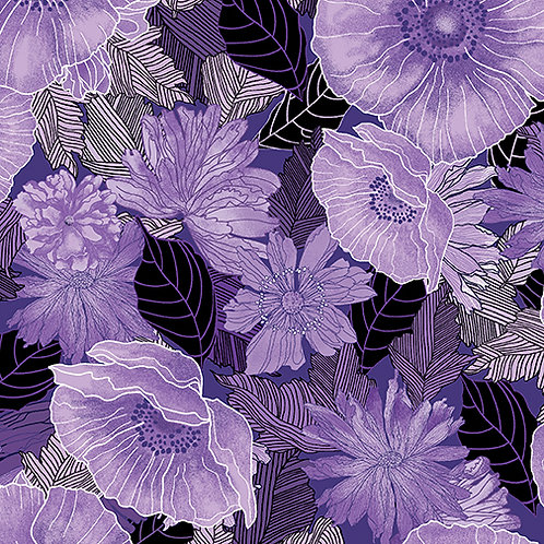 Benartex Midnight Poppies - MOONLIT POPPIES PURPLE