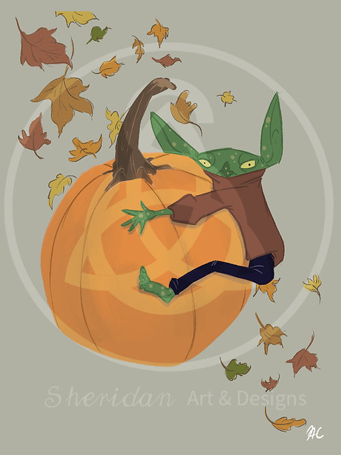 "Pumpkin Goblin Girl Print 5"" x 7"""