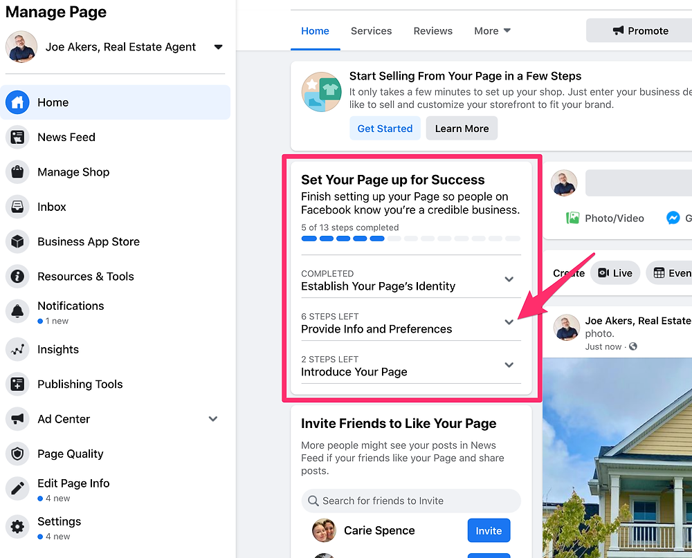Image of remaining steps for a Facebook business page.