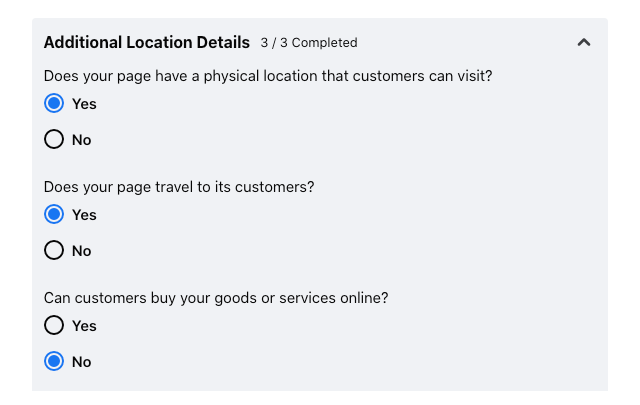 Image of location detail settings for a Facebook business page.