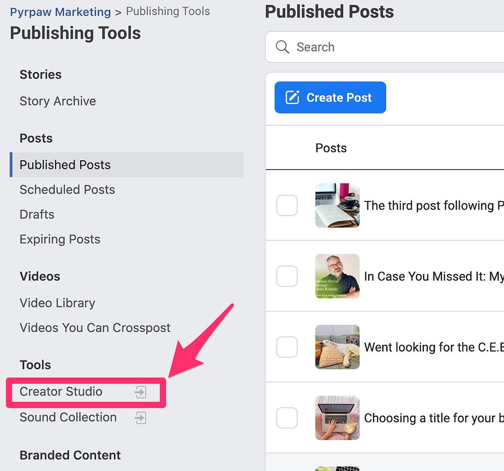 Facebook publishing tools menu page