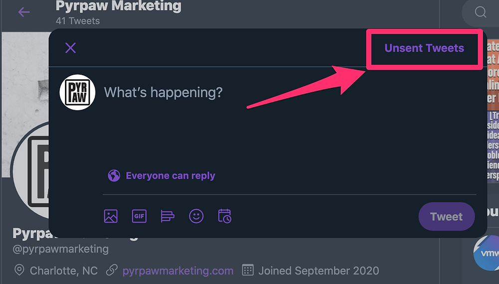 Twitter Unsent tweets button